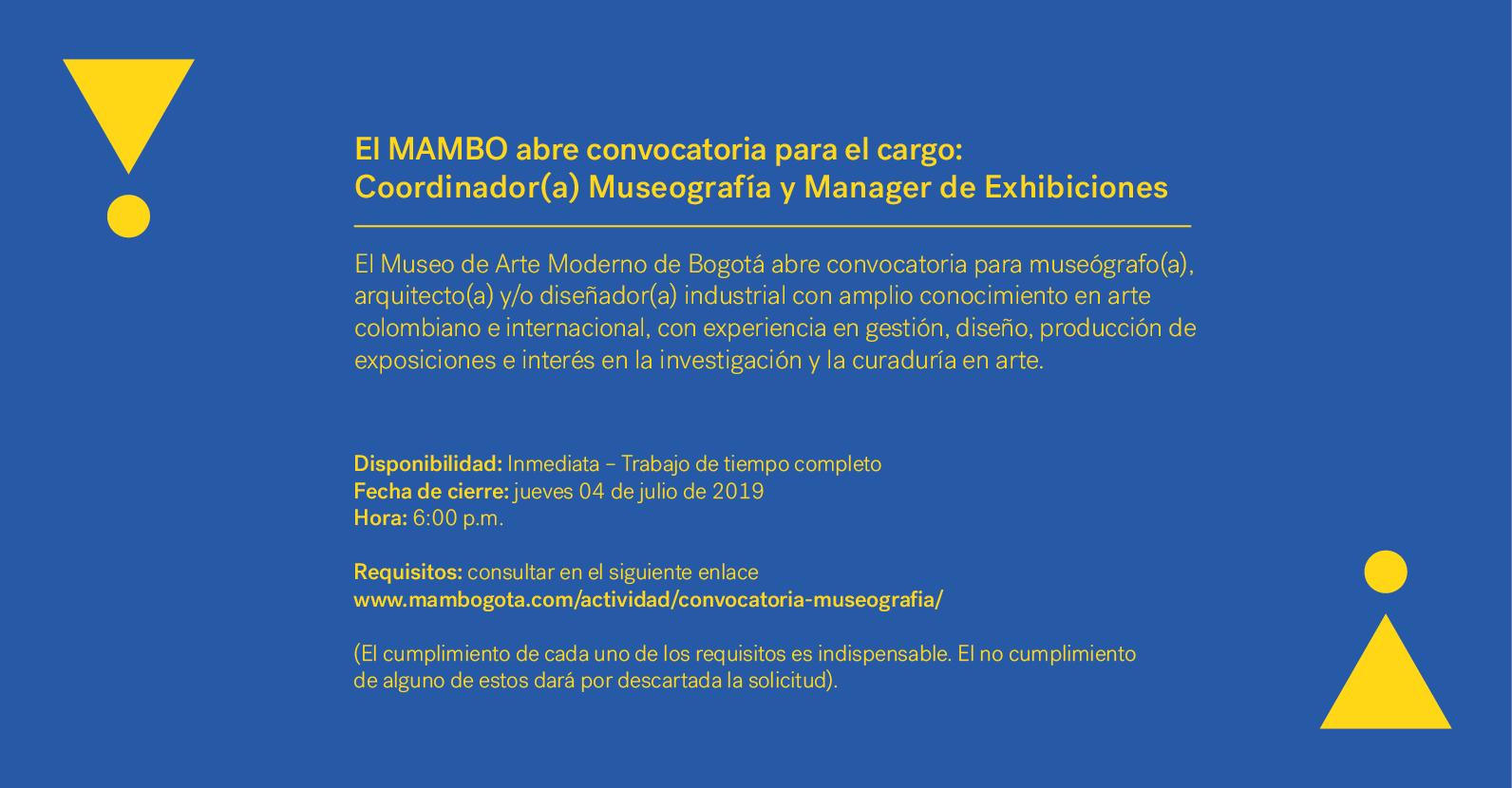 Coordinador(a) Museografía y Manager de Exhibiciones